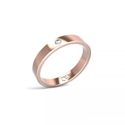 Alianza Atlas Oro rosa 3,3 mm x 1,4 mm con 1 diamante