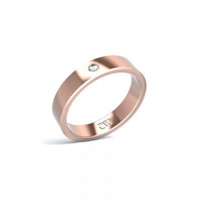 Alianza Atlas Oro rosa 4 mm x 1,6 mm con 1 diamante