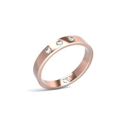 Alianza Atlas Oro rosa 3,3 mm x 1,4 mm con 3 diamantes