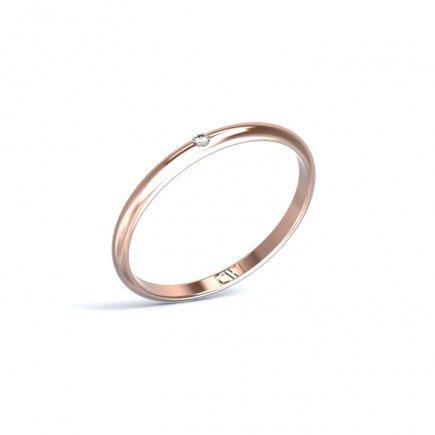 Alianza Rhea Oro rosa 2 mm x 1,2 mm con 1 diamante