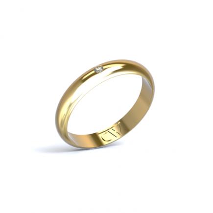 Alianza Rhea Oro amarillo 3,5 mm x 1,4 mm con 1 diamante