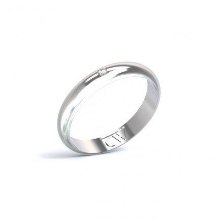 Alianza Rhea Oro blanco 3,5 mm x 1,4 mm con 1 diamante