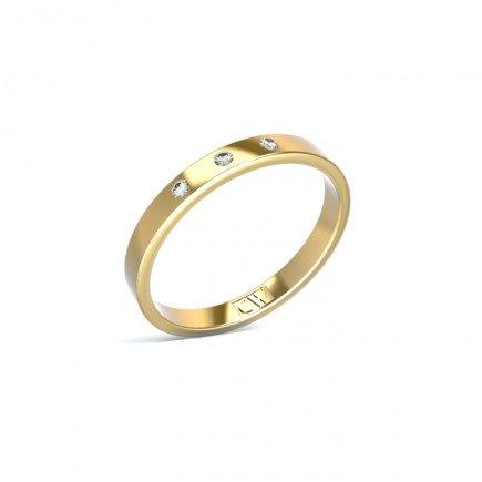 Alianza Atlas Oro amarillo 2,5 mm x 1,2 mm con 3 diamantes