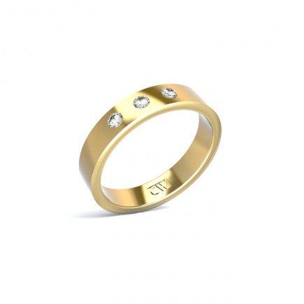 Alianza Atlas Oro amarillo 4mm x 1,6 mm con 3 diamantes