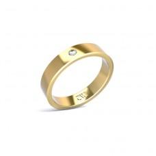 Alianza Atlas Oro amarillo 4 mm x 1,6 mm con 1 diamante